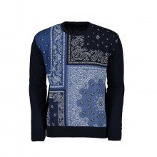 In The Box Magbandanapatchwork Maglione Girocollo Patch Bandana Casual Uomo