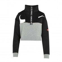 Nike Cj3466 Felpa Crop  1/2 Zip Pro Get Fit Donna Abbigliamento Training E Palestra Donna