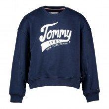 Tommy Hilfiger Kg0kg04955 Felpa Girocollo Logo Tommy 1985 Bambina Abbigliamento Bambino